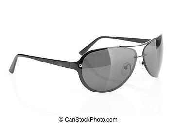 branca, óculos de sol, isolado, fundo, aviador