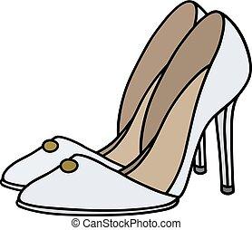 branca, agulha, sapatos, calcanhar