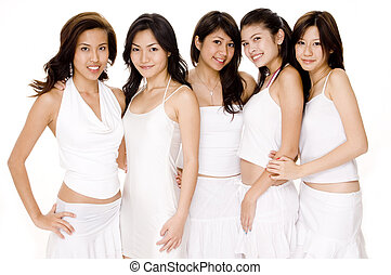 branca, asiático, #1, mulheres