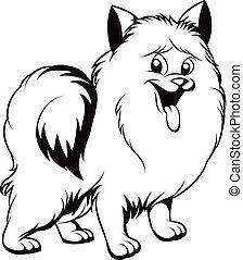 branca, cachorro preto, desenho
