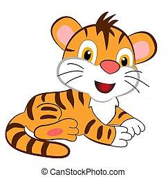 branca, caricatura, cute, experiência., filhote tigre