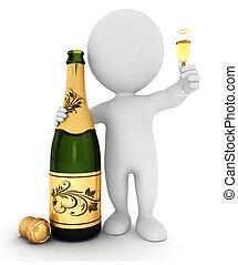 branca, champanhe, 3d, pessoas