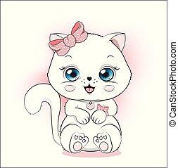 branca, coloração, princesa, gatinho