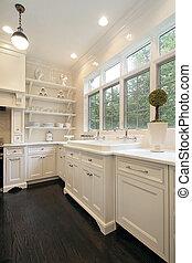 branca, contemporâneo, cabinetry, cozinha