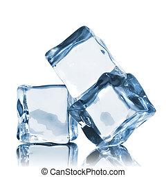 branca, cubos, isolado, gelo