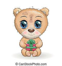 branca, designs., natal, grande, seu, urso, olhos, patas, presente, fundo, cute, caricatura