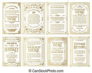 branca, etiquetas, gold-framed