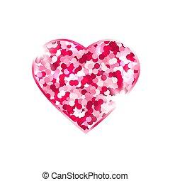 branca, experiência., love., desenho, símbolo, elemento, coração, card., faíscas, brilhar, cor-de-rosa, luminoso, isolado, valentines, vetorial, ilustração, stars., dia, romanticos