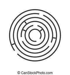 branca, experiência., vetorial, labirinto, anel, círculo