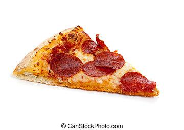 branca, fatia, pizza pepperoni