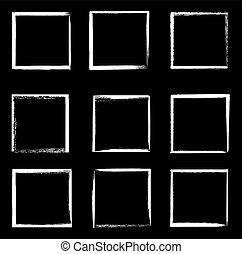 branca, grunge, quadrado, bordas, vetorial, fronteiras, isolado