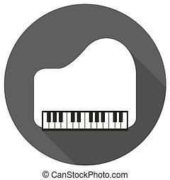 branca, longo, piano, círculo, sombra, ícone