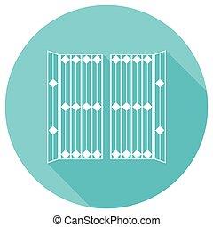 branca, longo, portão, sombra, círculo, ícone