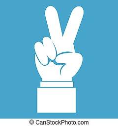 branca, mão, vitória, ícone, sinal