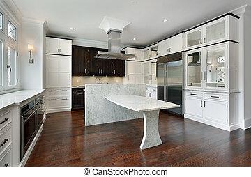 branca, modernos, cabinetry, cozinha