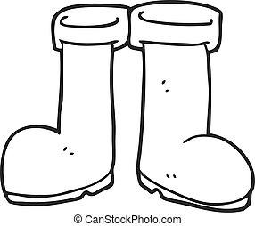 branca, pretas, botas wellington, caricatura