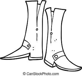 branca, pretas, caricatura, botas