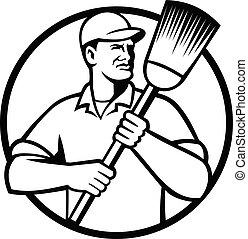 branca, pretas, segurando, círculo, vassoura, limpador, zelador, varredor, rua, ou, retro