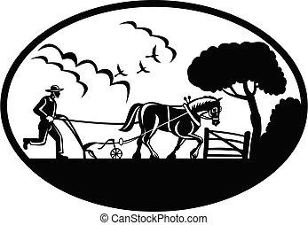 branca, pretas, woodcut, arar, campo, retro, agricultor, fazenda, oval