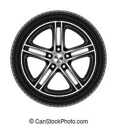 branca, roda, car, ou, isolado, automóvel, pneu