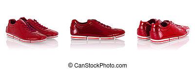 branca, sapatos atletismo, isolado