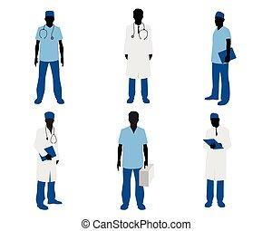 branca, silhuetas, doutores