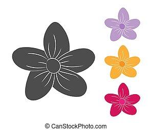 branca, silhuetas, fundo, jogo, petals., flor, isolado