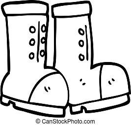 branca, trabalho, pretas, caricatura, botas