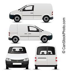branca, veículo, comercial, mockup