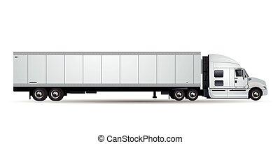 branca, vetorial, caminhão, isolado, fundo