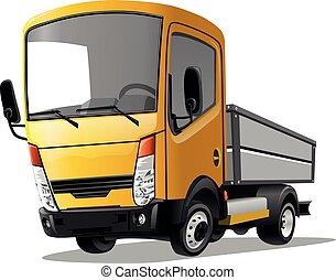 branca, vetorial, experiência., caminhão, illustration., caricatura, isolado