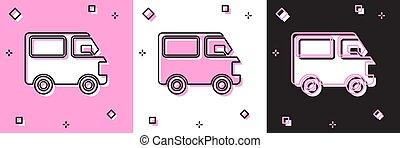 branca, vetorial, veículo carga, isolado, ícone, pretas, ilustração, cor-de-rosa, jogo, caminhão, entrega, experiência.