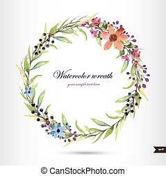 branch., grinalda, flores, aquarela, foliage
