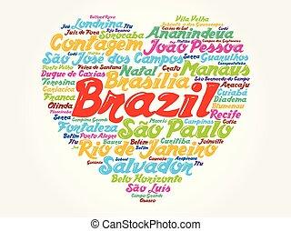 brasil, coração, palavra, lista, cidades, nuvem
