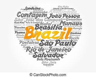 brasil, palavra, coração, nuvem, lista, cidades