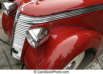 brilhante, clássicas, automobile., vindima, carro., luxo, limousine., vermelho, história