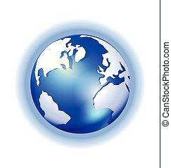 brilho, mapa, globo, experiência azul