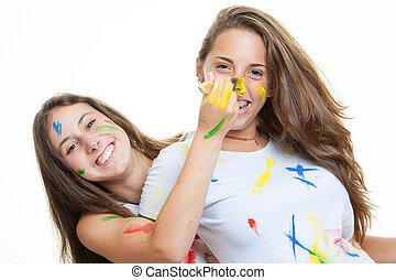 brincalhão, meninas adolescentes, pintura