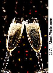 brinde, fazer, champanhe, dois, óculos