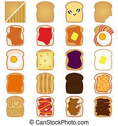 brinde, marrom, geleia, incite pão