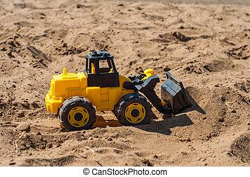 brinquedo, amarela, escavador