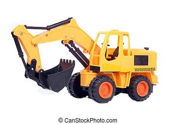 brinquedo, escavador, plástico