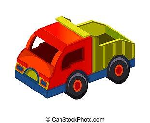 brinquedo, ilustração, caminhão, fundo branco, vetorial, isolado