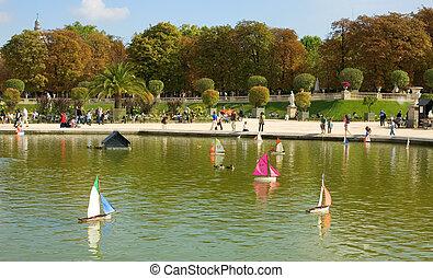 brinquedo, jardim, paris, luxemburgo, frança, barcos