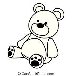 brinquedo, urso teddy, pretas, branca, caricatura, ícone
