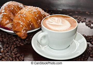 brioches, mercado de zurique, cappuccino