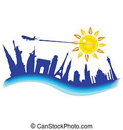 buliding, avião, ilustração, viagem