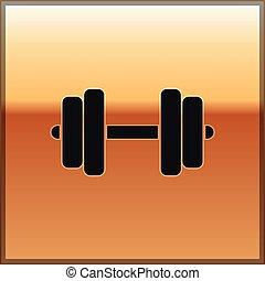 bumbbell., dumbbell, ouro, experiência., ginásio, isolado, ilustração, equipamento esportes, vetorial, pretas, levantamento, condicão física, ícone, símbolo, músculo, barbell, exercício, ícone