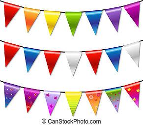 bunting, arco íris, bandeira, guirlanda
