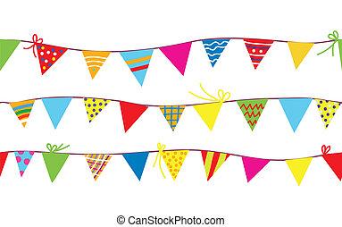 bunting, padrão, crianças, bandeiras, seamless
